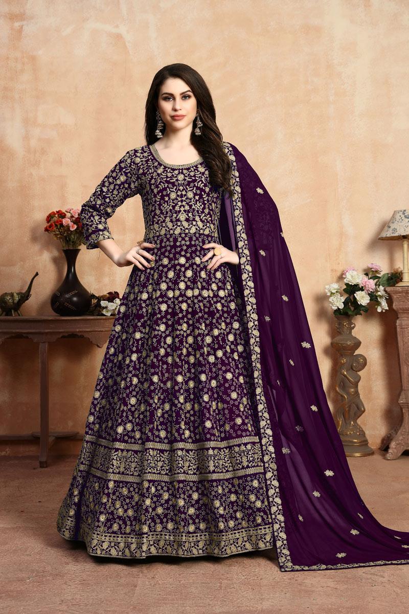 Eid Special Purple Color Georgette Fabric Long Fancy Anarkali Suit