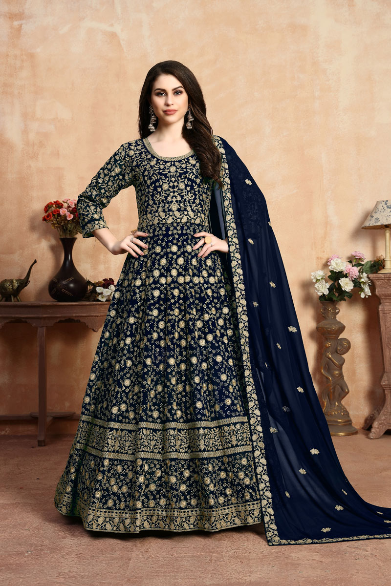 Eid Special Embroidered Georgette Fabric Navy Blue Color Anarkali Suit