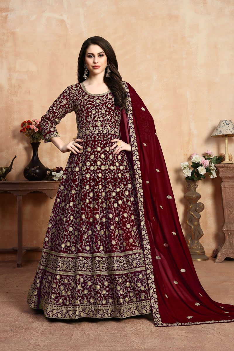 Eid Special Fancy Georgette Fabric Designer Maroon Color Anarkali Salwar Suit