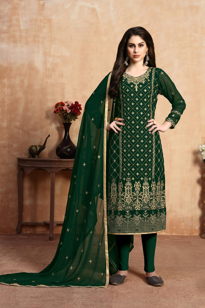 Designer Festive Wear Dark Green Color Georgette Fabric Embroidered Straight Cut Suit