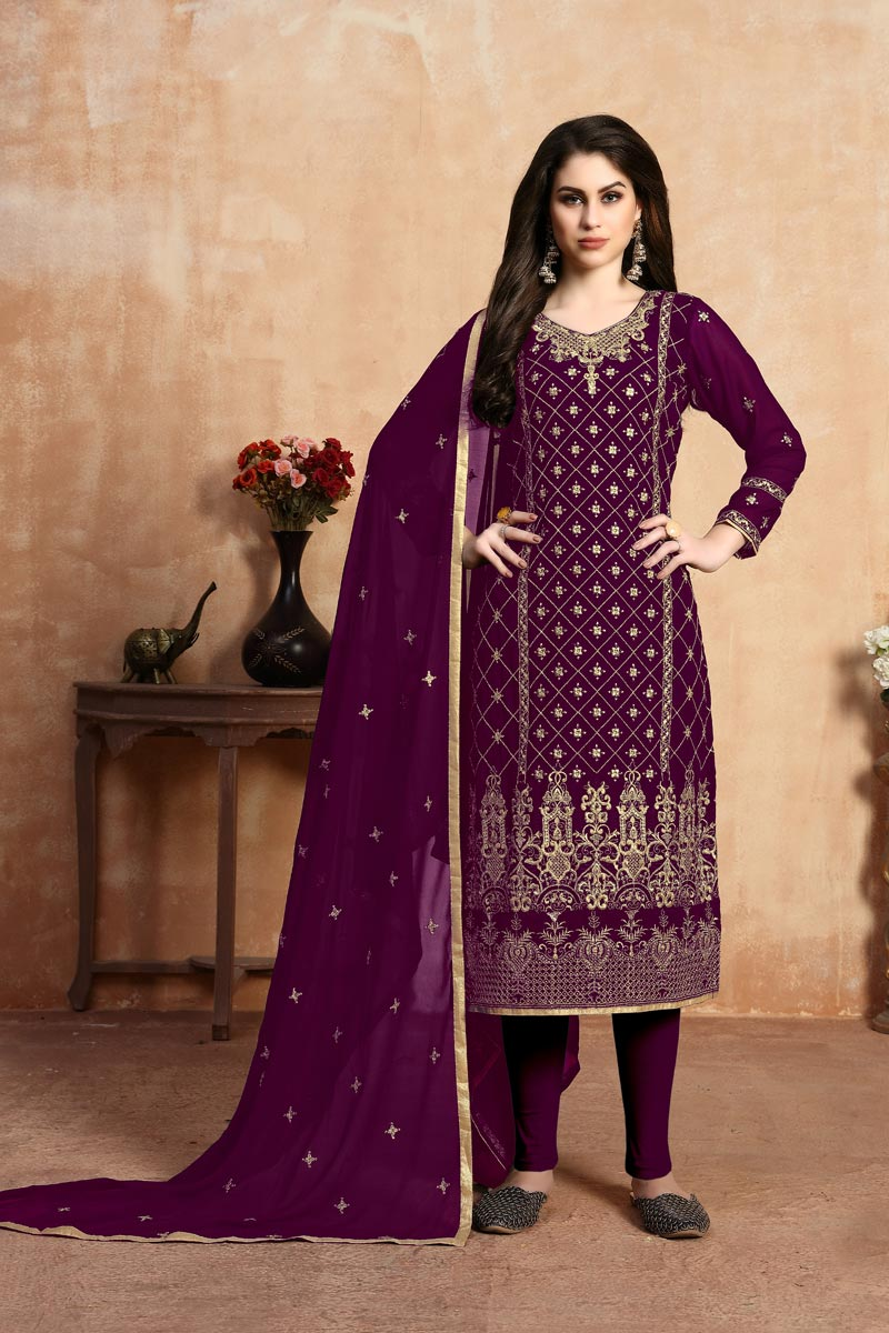 Festive Wear Georgette Fabric Designer Embroidered Straight Cut Dress In Purple Color