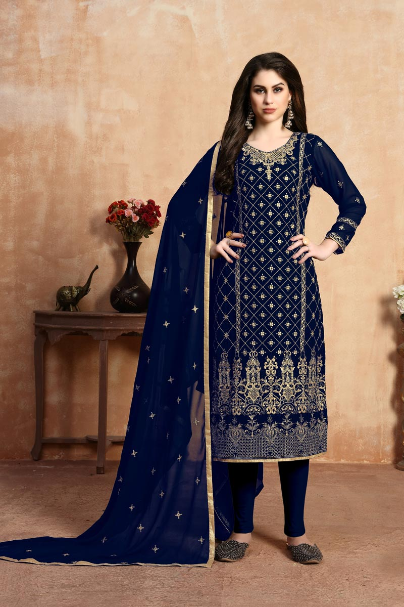 Designer Georgette Fabric Festive Wear Embroidered Navy Blue Color Straight Cut Suit