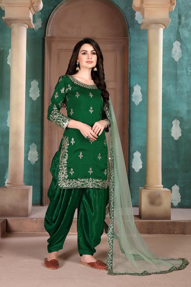 Festive Wear Art Silk Fabric Embroidered Patiala Suit In Green Color