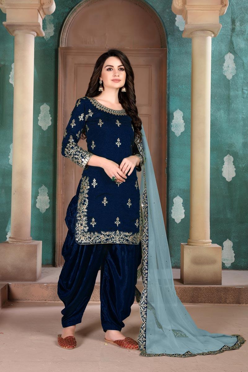 Art Silk Fabric Festive Wear Embroidered Navy Blue Color Patiala Dress