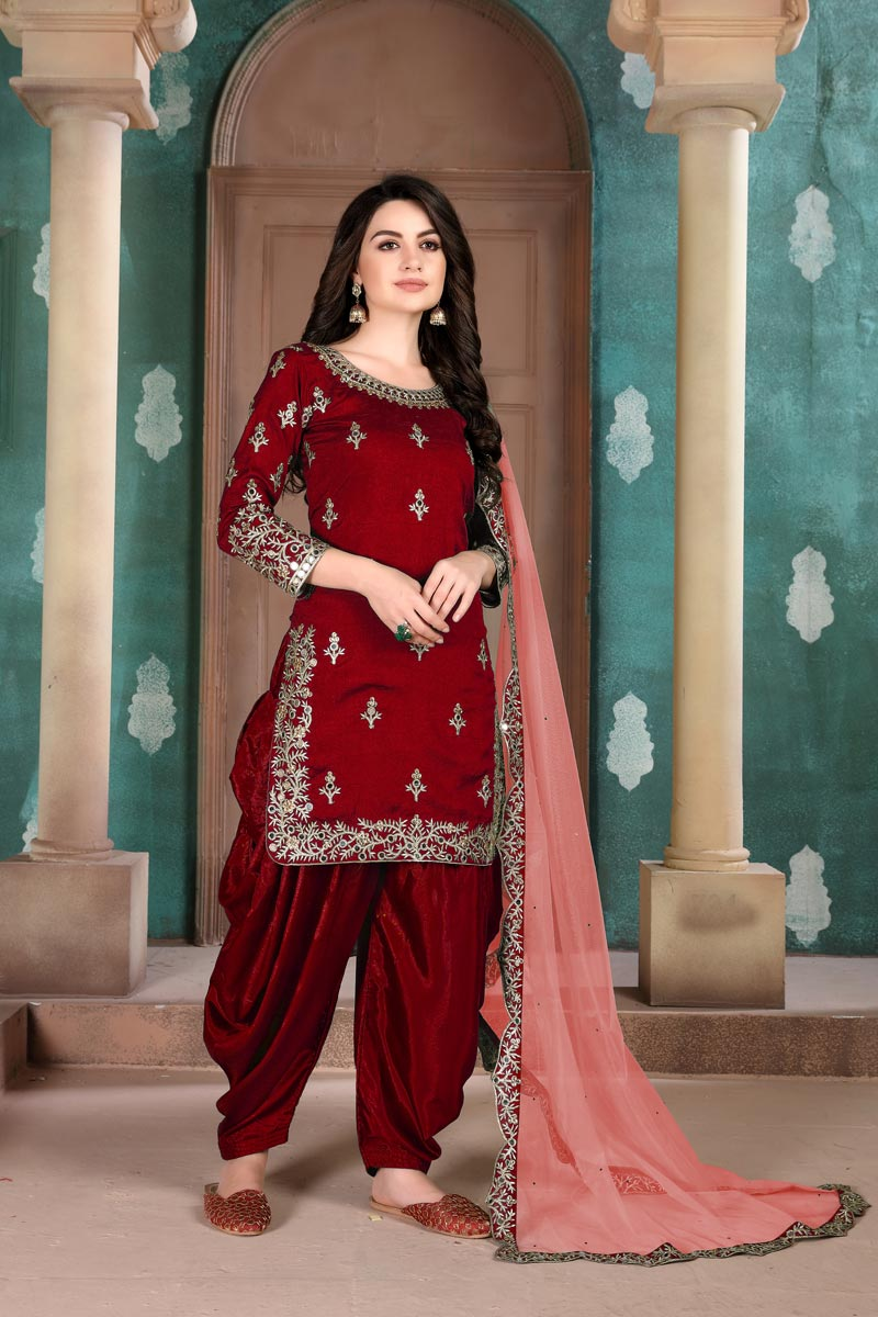 Art Silk Fabric Festive Wear Embroidered Maroon Color Patiala Suit