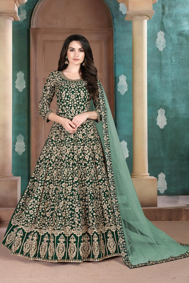 Sangeet Wear Georgette Fabric Embroidered Dark Green Color Floor Length Anarkali Suit
