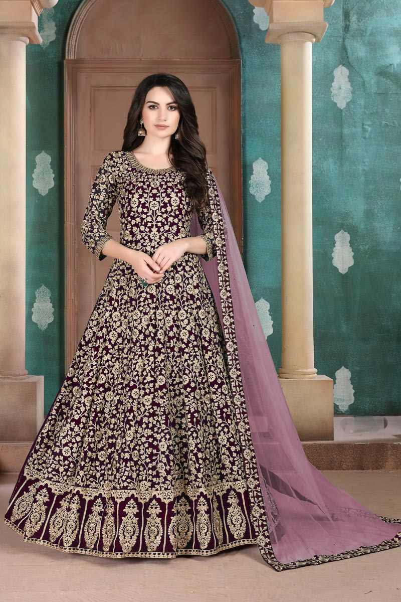 Sangeet Wear Georgette Fabric Embroidered Long Length Anarkali Dress In Purple Color