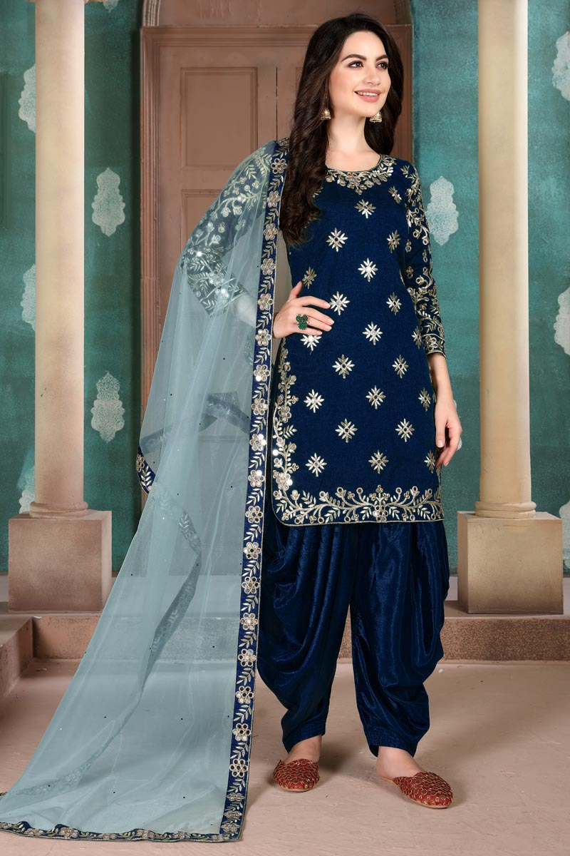 Navy Blue Color Art Silk Fabric Function Wear Embroidered Patiala Suit