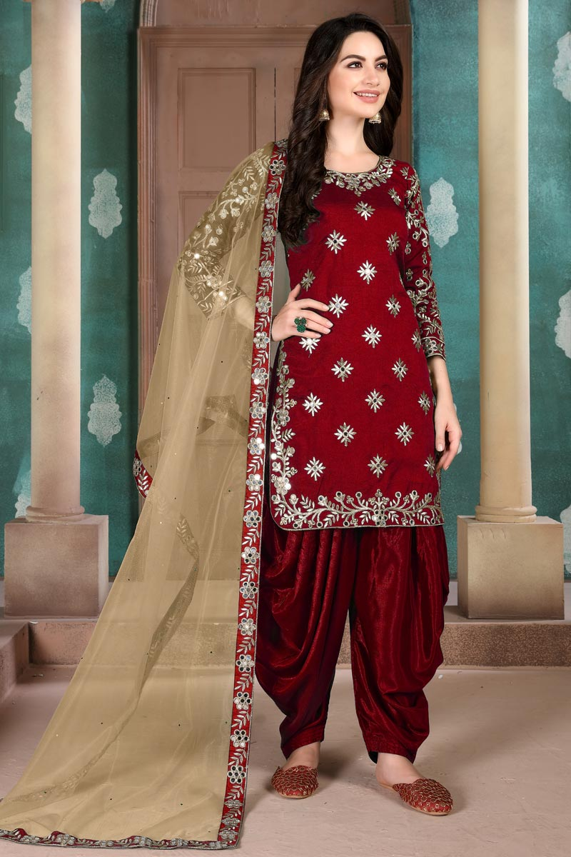 Occasion Wear Maroon Color Embroidered Patiala Salwar Kameez