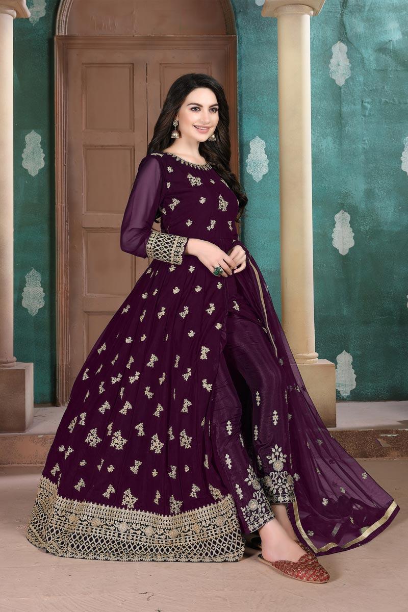 Sangeet Wear Georgette Fabric Embroidered Floor Length Anarkali Suit In Purple Color