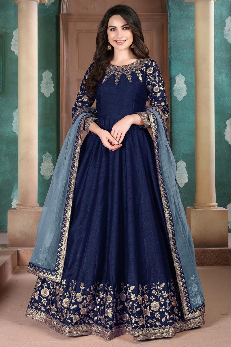 Fancy Navy Blue Function Wear Embroidered Anarkali Suit In Art Silk Fabric