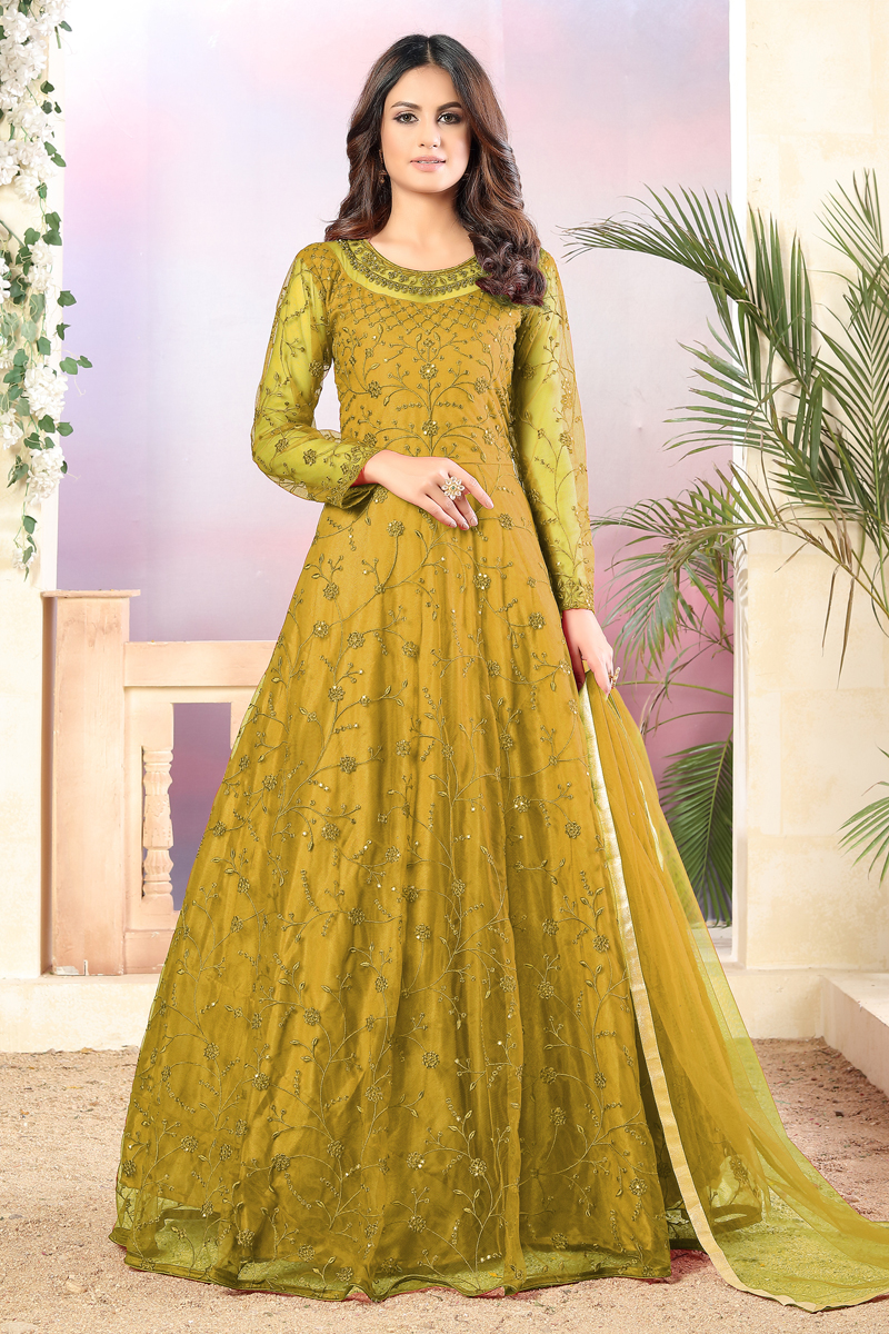 Net Fabric Party Wear Yellow Color Embroidered Anarkali Salwar Suit