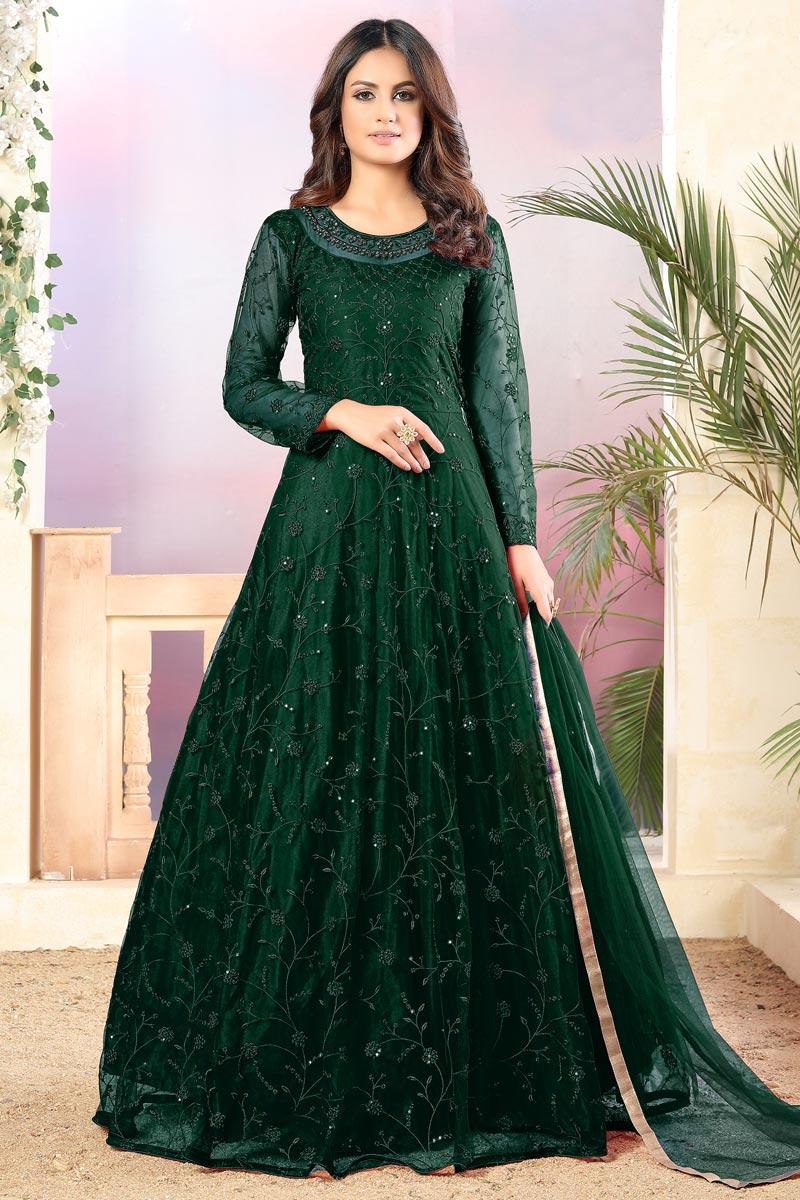 Dark Green Color Embroidered Anarkali Salwar Kameez