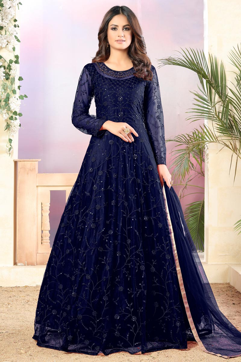 Navy Blue Color Net Fabric Function Wear Embroidered Anarkali Suit