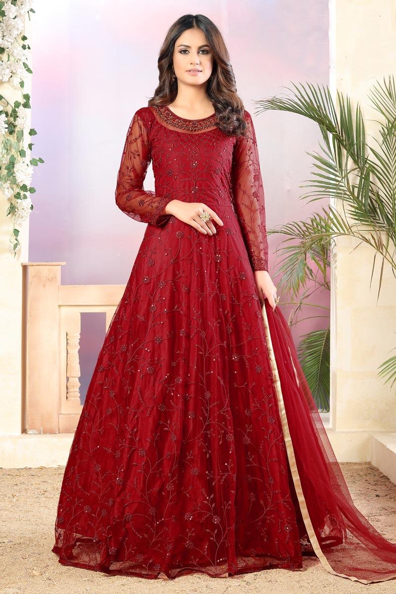 Occasion Wear Red Color Embroidered Anarkali Salwar Kameez