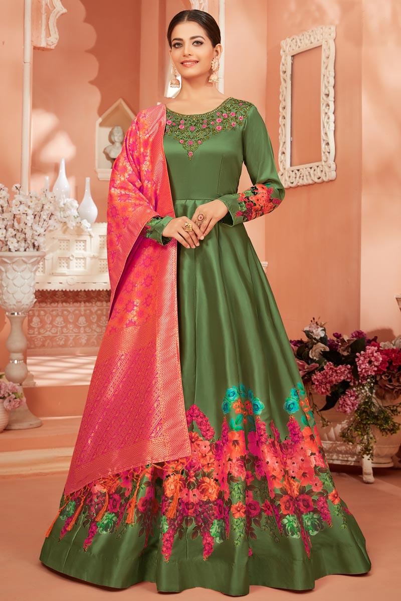 Function Wear Fancy Satin Silk Fabric Printed Green Color Anarkali Dress