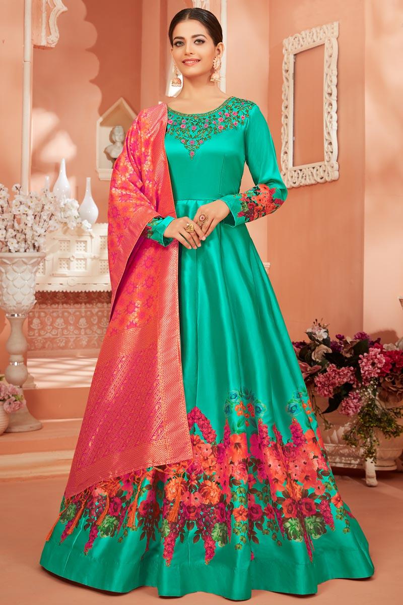 Fancy Cyan Color Party Wear Printed Anarkali Suit In Satin Silk Fabric