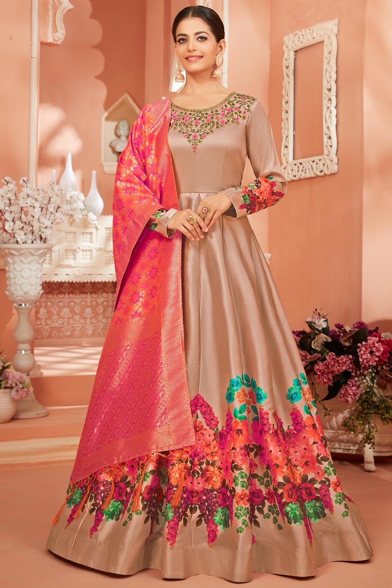 Sangeet Wear Chikoo Color Fancy Satin Silk Fabric Printed Anarkali Dress