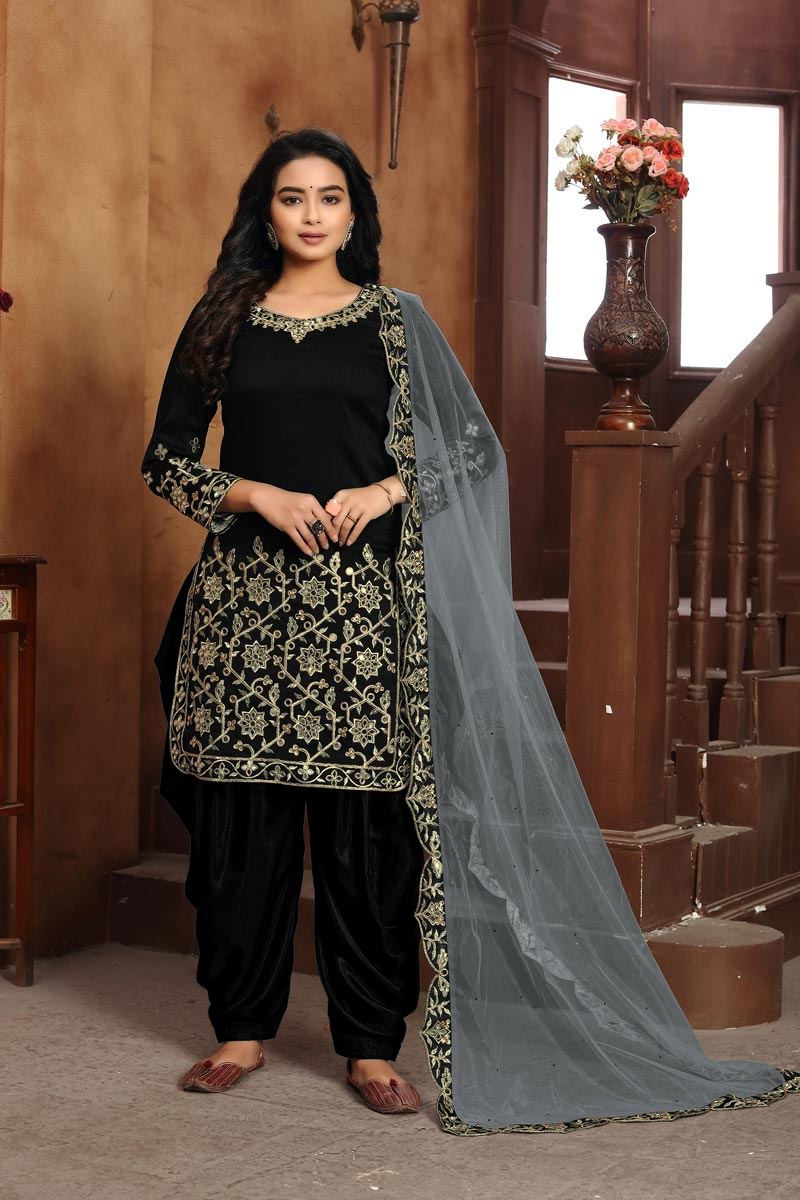 Festive Wear Dark Black Color Classic Art Silk Fabric Embroidered Patiala Dress