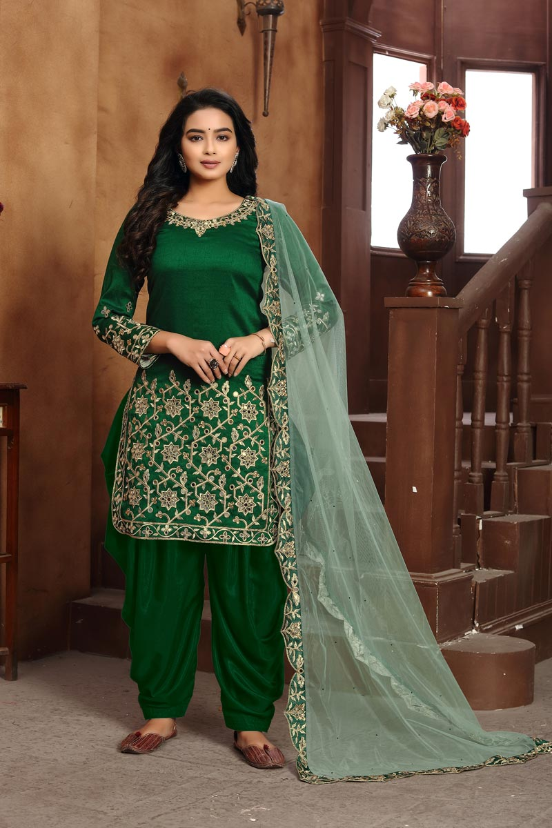 Festive Wear Classic Art Silk Fabric Embroidered Patiala Suit In Green Color