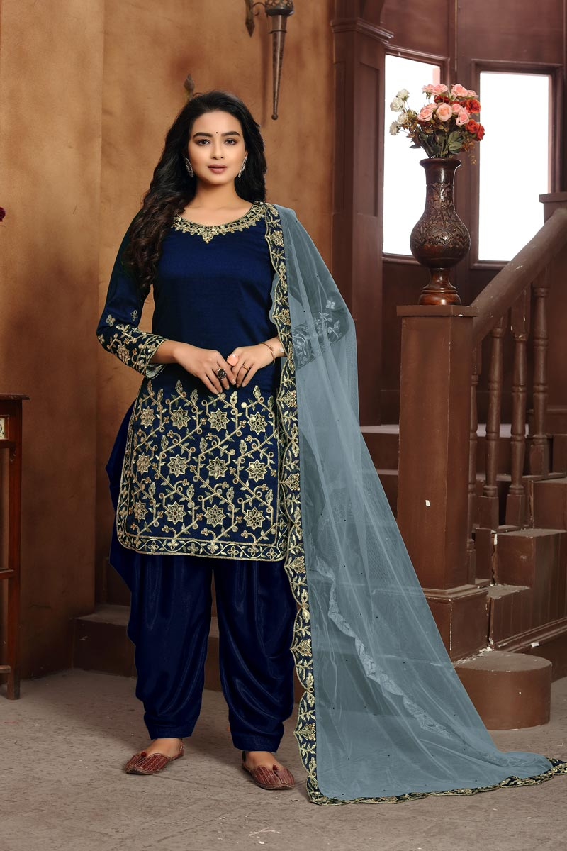 Classic Art Silk Fabric Festive Wear Embroidered Navy Blue Color Patiala Dress