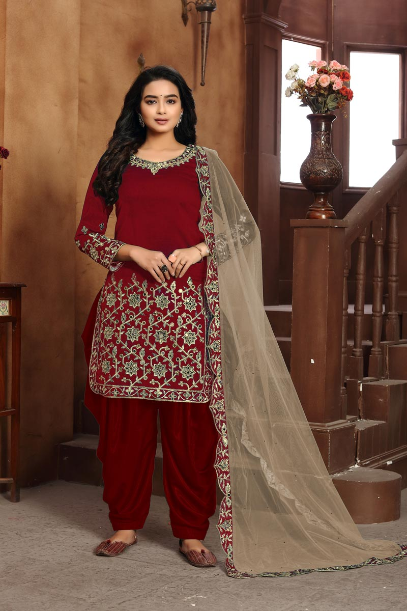 Art Silk Fabric Classic Festive Wear Embroidered Red Color Patiala Suit
