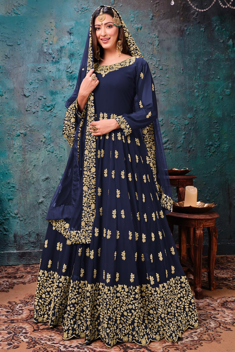 Navy Blue Color Georgette Fabric Function Wear Embroidered Anarkali Suit