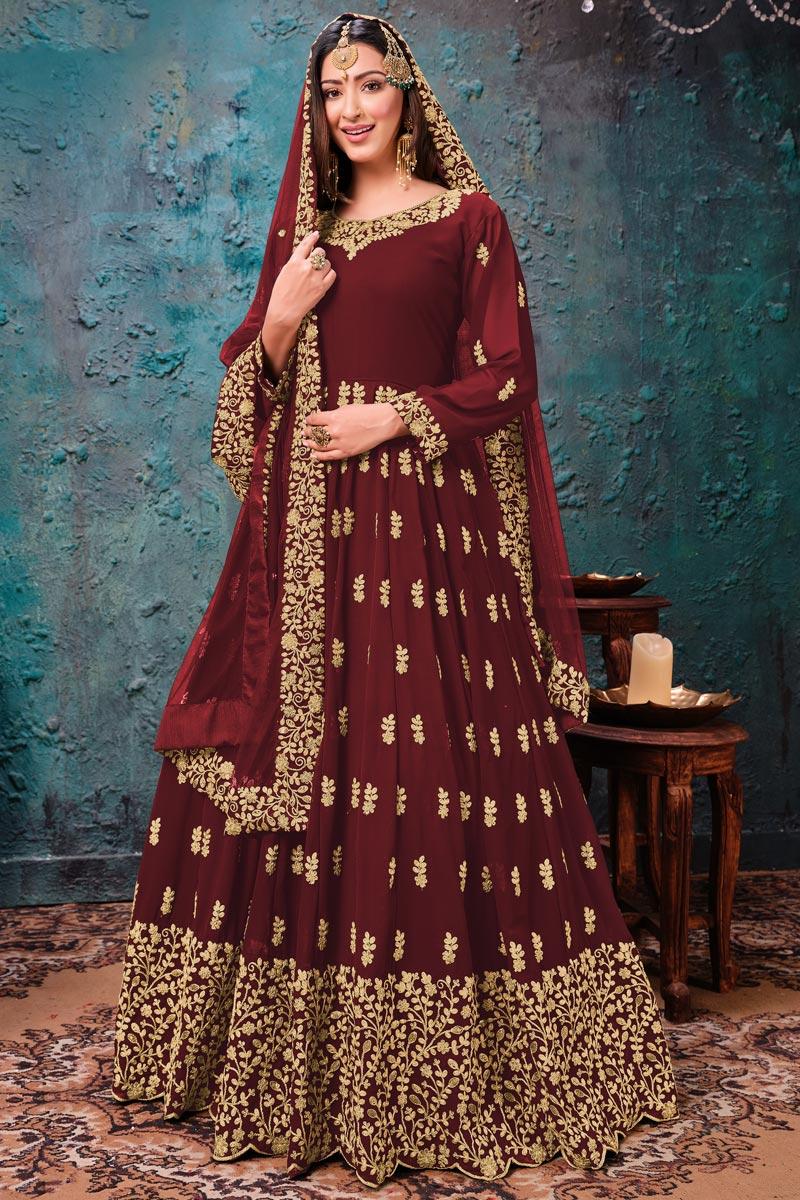 Occasion Wear Maroon Color Embroidered Anarkali Salwar Kameez