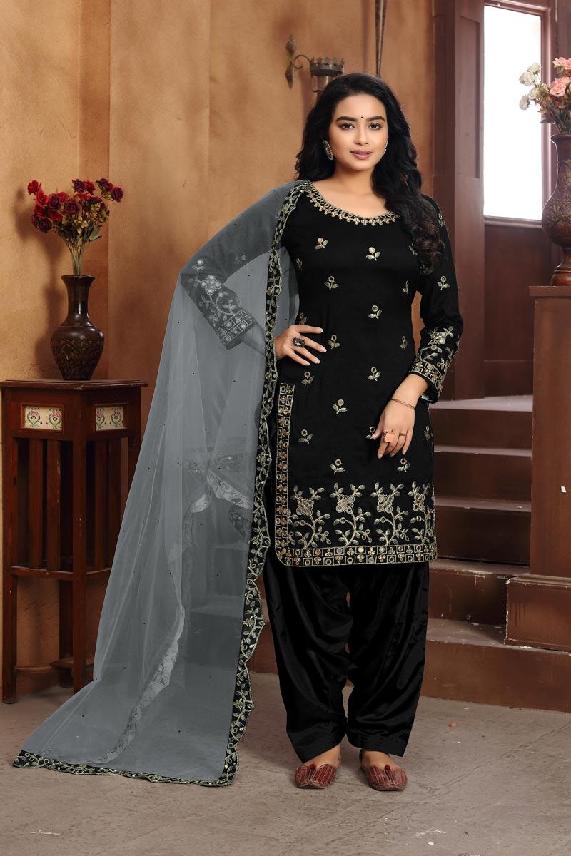 Festive Wear Black Color Classic Art Silk Fabric Embroidered Patiala Dress