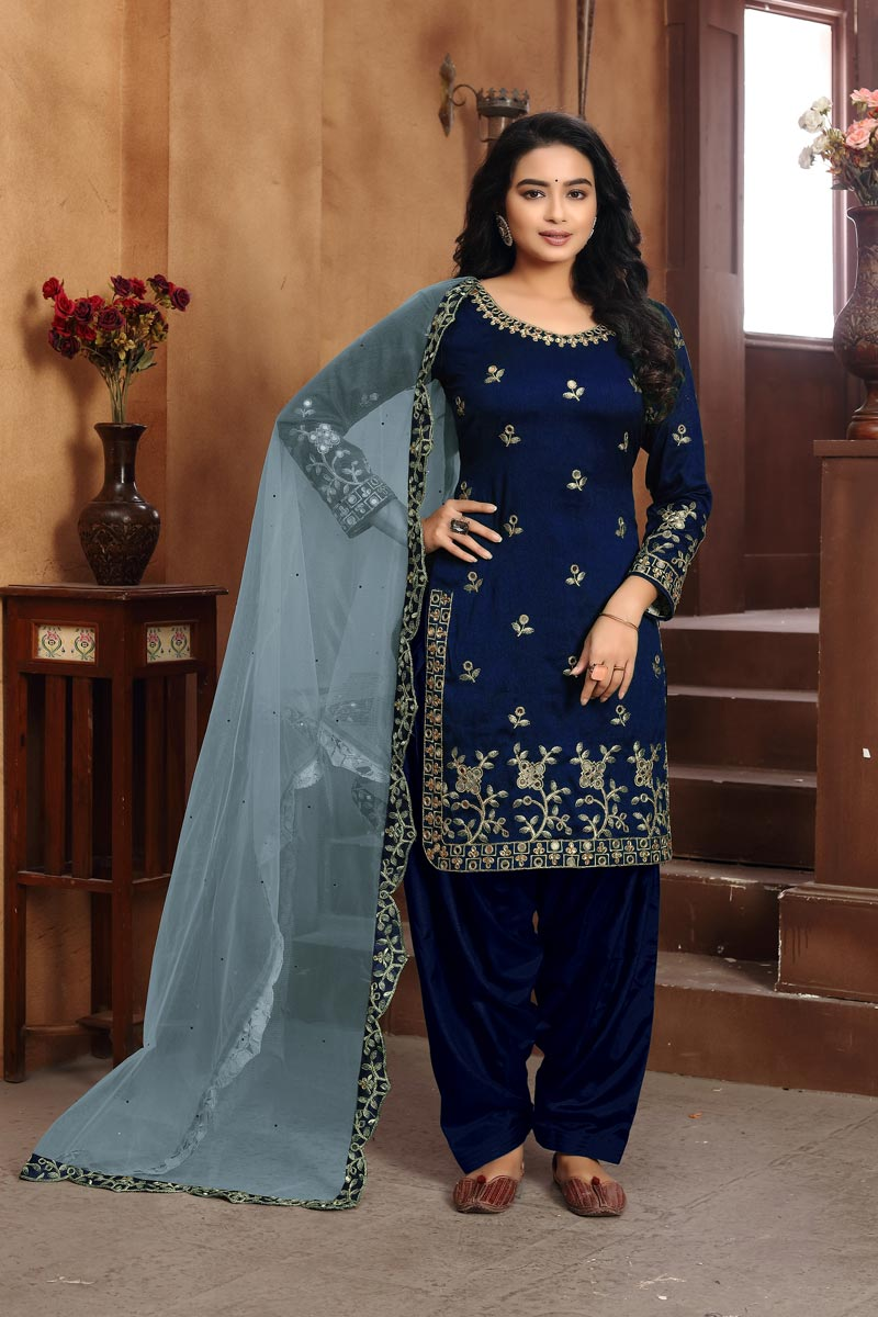 Classic Art Silk Fabric Embroidered Navy Blue Color Patiala Dress