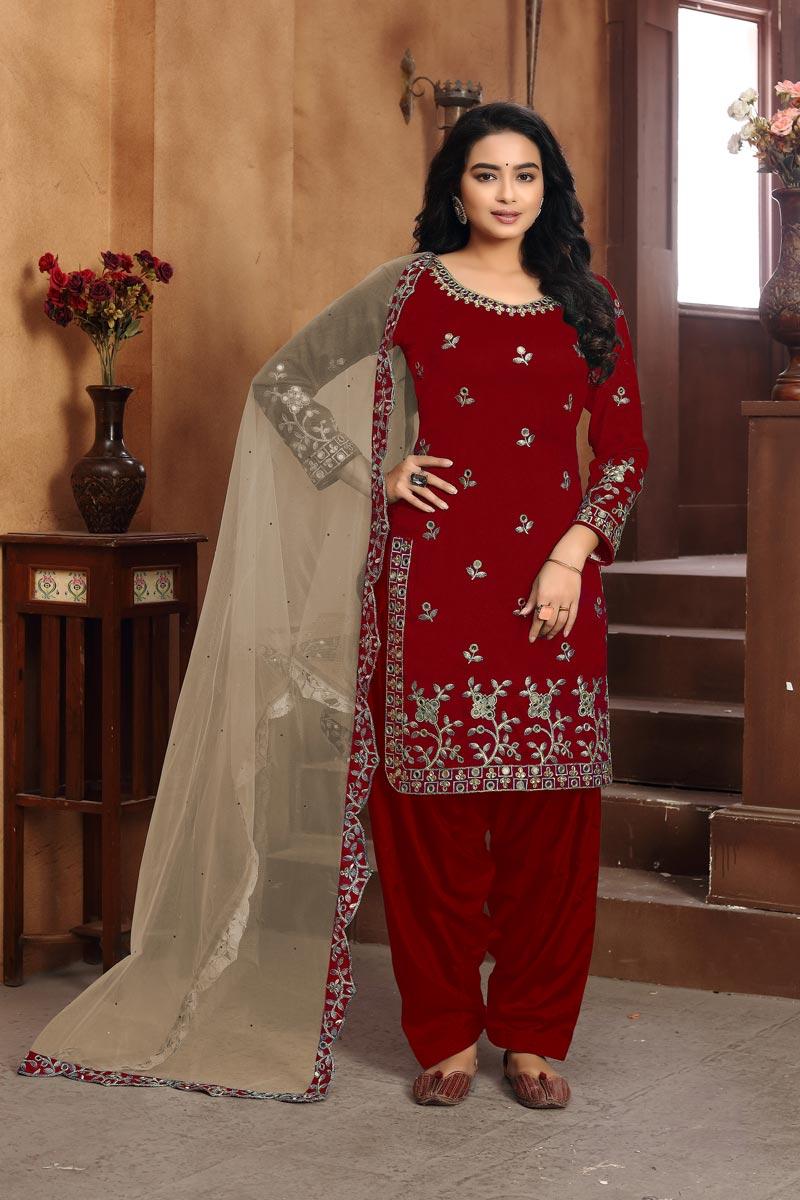Art Silk Fabric Classic Festive Wear Red Color Patiala Suit