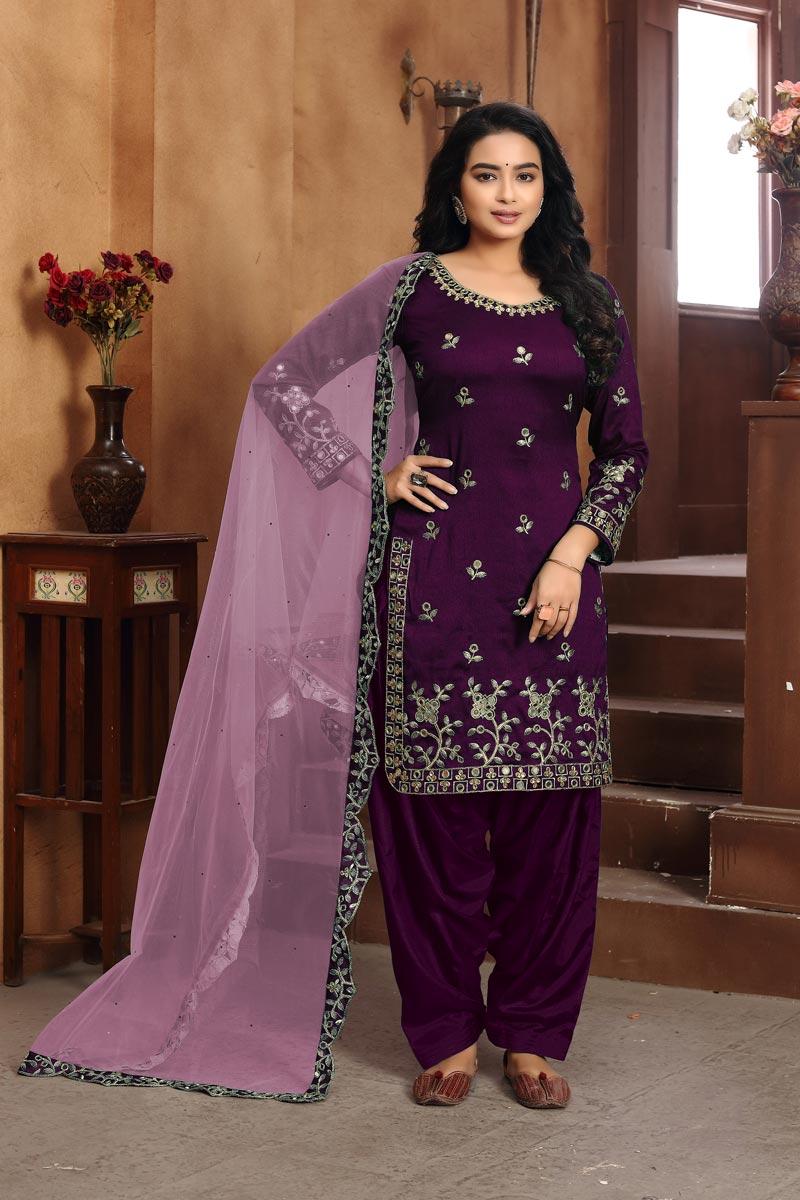 Purple Color Fancy Art Silk Fabric Embroidery Work Party Wear Patiala Suit