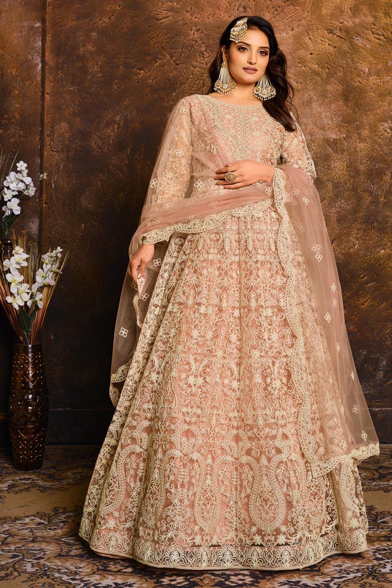 Peach Color Net Fabric Fancy Embroidery Work Wedding Wear Anarkali Salwar Kameez