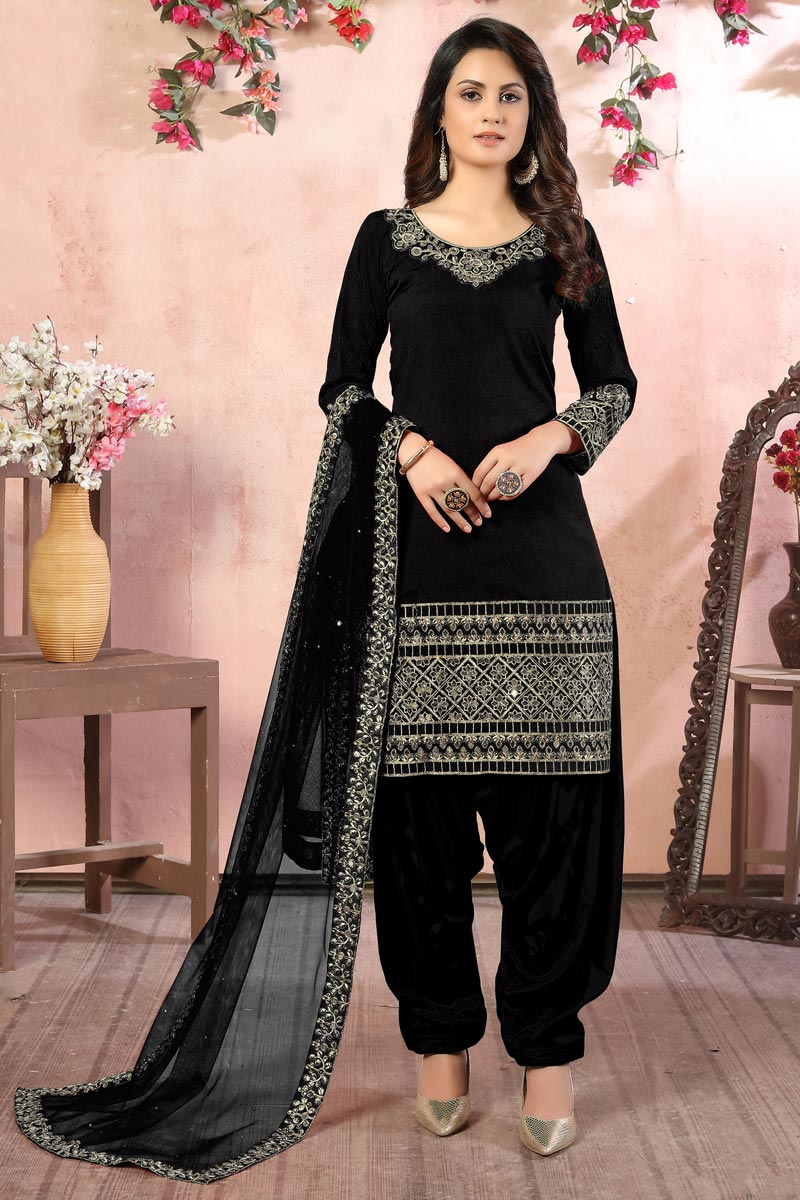 Black Color Art Silk Fabric Embroidery Work Function Wear Fancy Patiala Salwar Suit