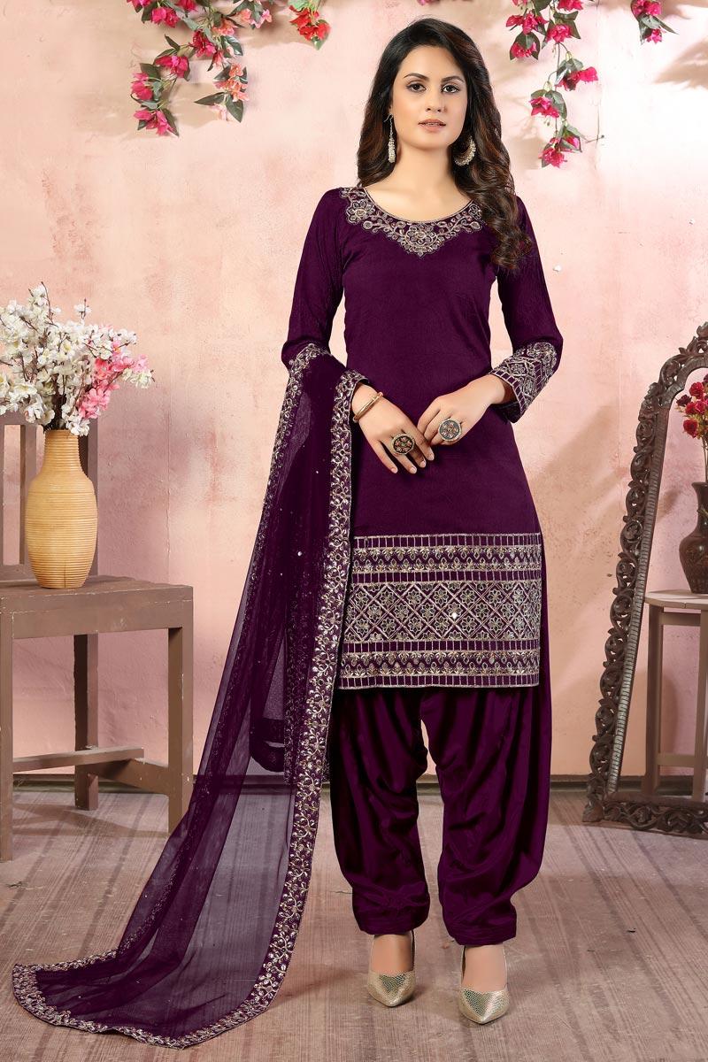 Art Silk Fabric Embroidery Work Festive Wear Trendy Patiala Salwar Kameez In Purple Color