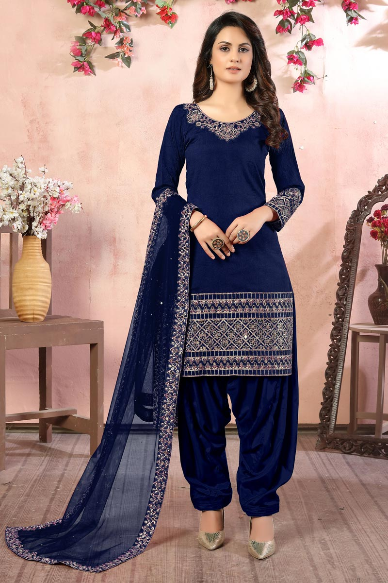 Embroidery Work Sangeet Wear Stylish Patiala Suit In Navy Blue Color Art Silk Fabric
