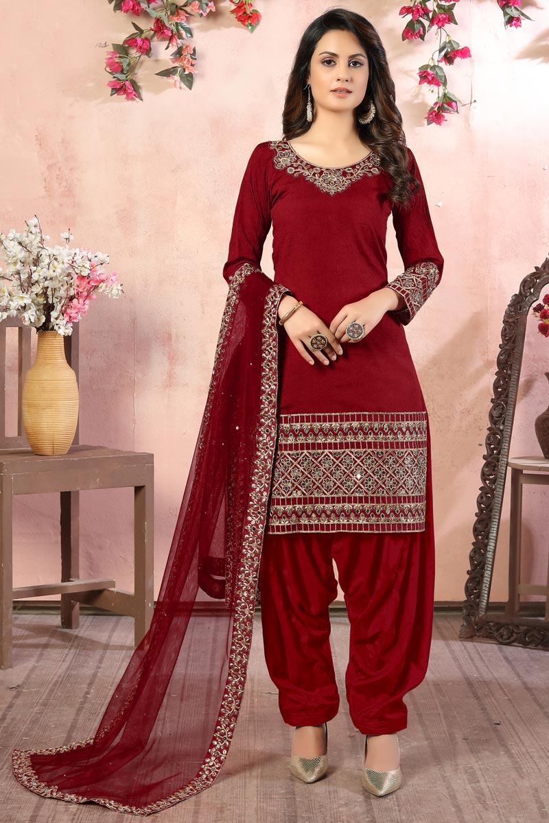 Art Silk Fabric Embroidery Work Wedding Wear Designer Patiala Salwar Suit In Maroon Color