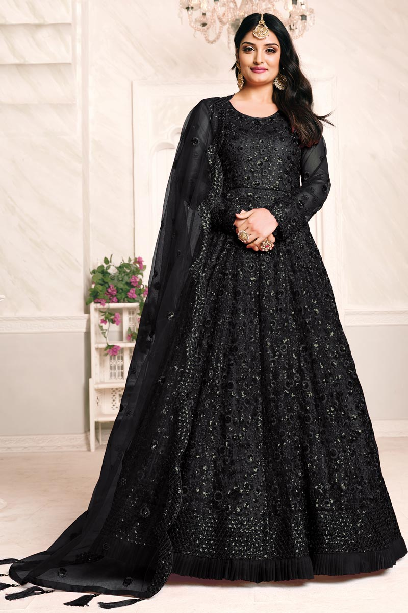 Black Color Net Fabric Embroidery Work Function Wear Anarkali Suit