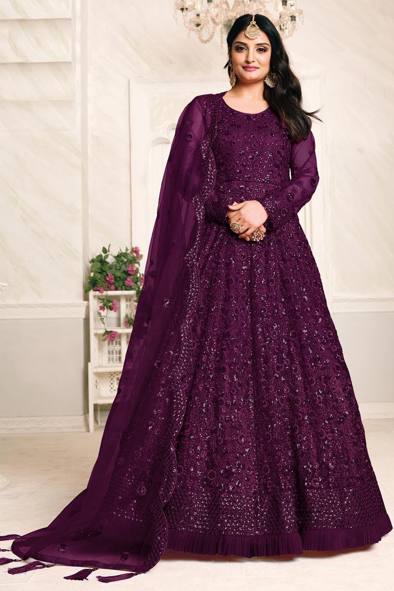 Embroidery Work Sangeet Wear Stylish Anarkali Suit In Purple Color Net Fabric