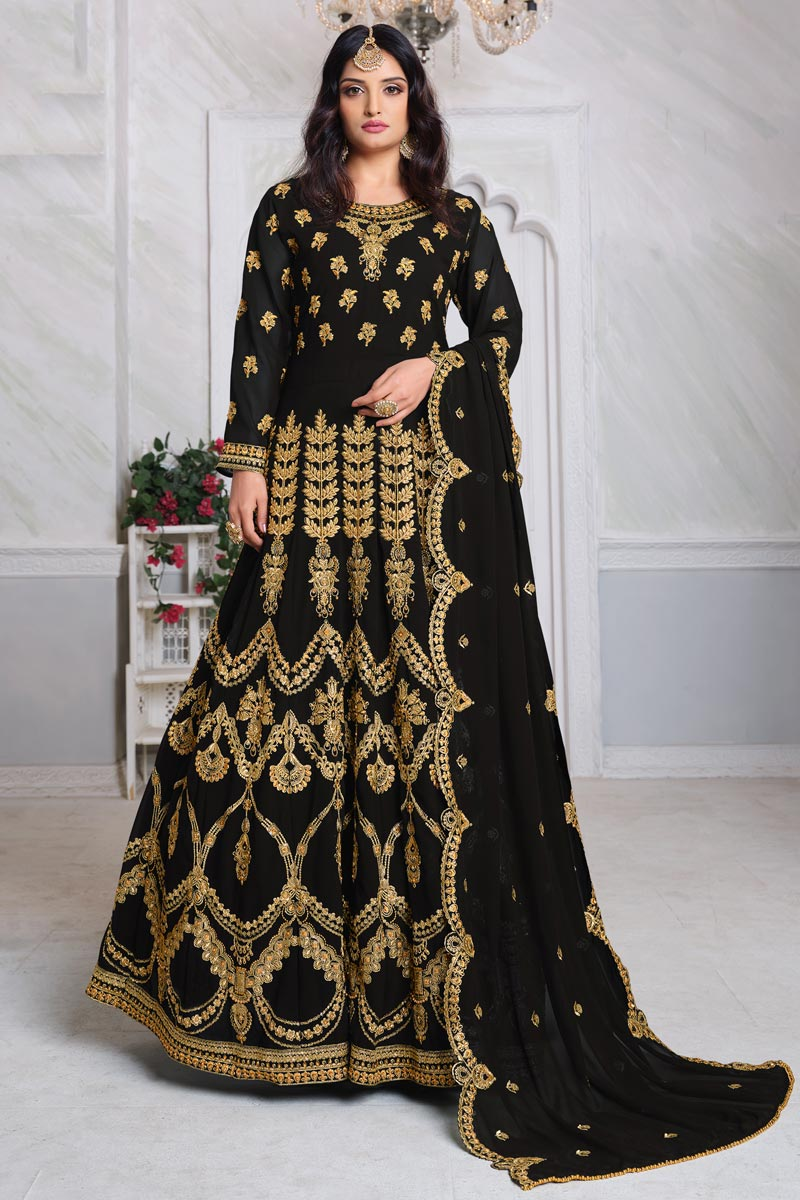 Black Color Georgette Fabric Embroidery Work Function Wear Fancy Anarkali Suit