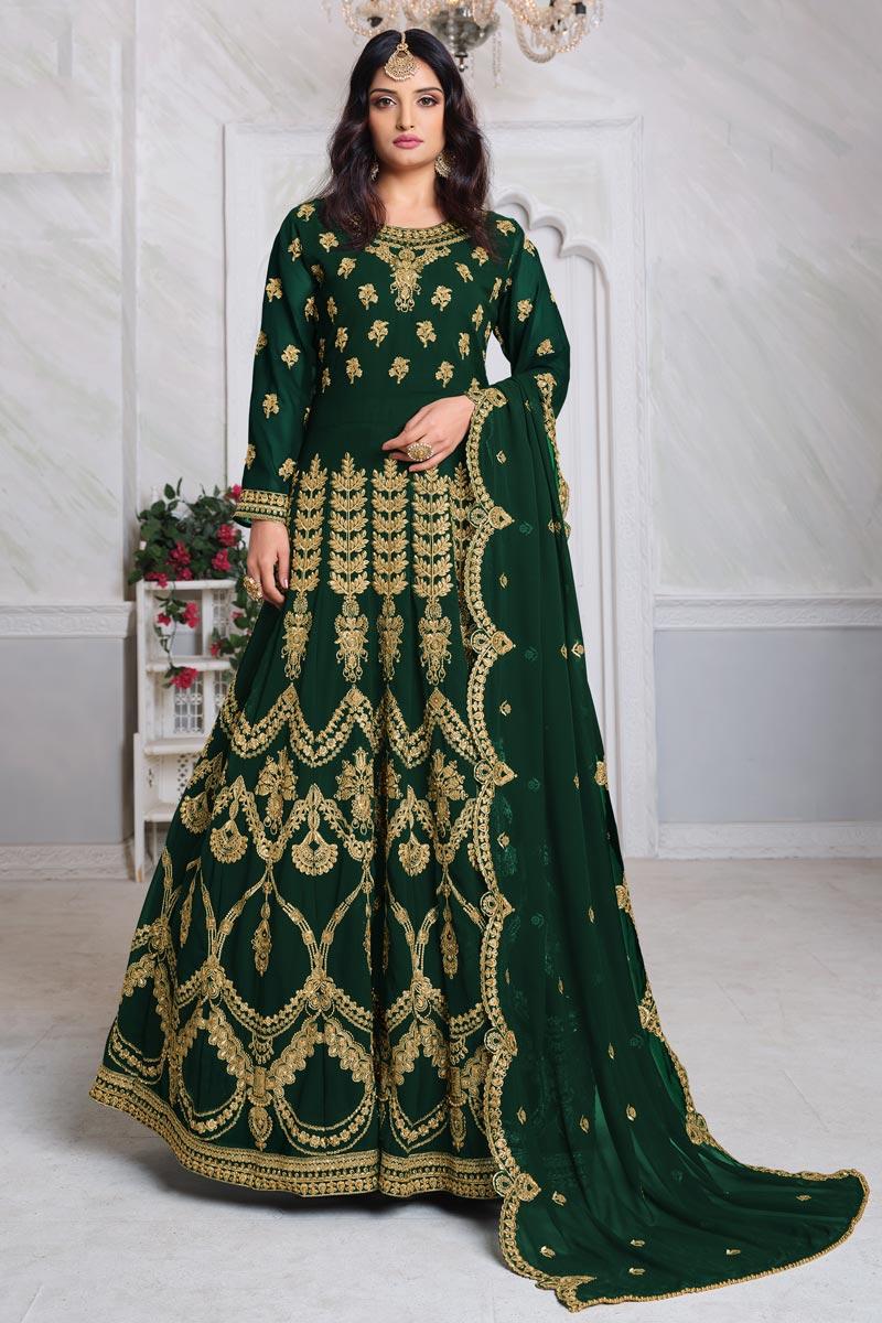 Georgette Fabric Embroidery Work Festive Wear Trendy Anarkali Suit In Dark Green Color