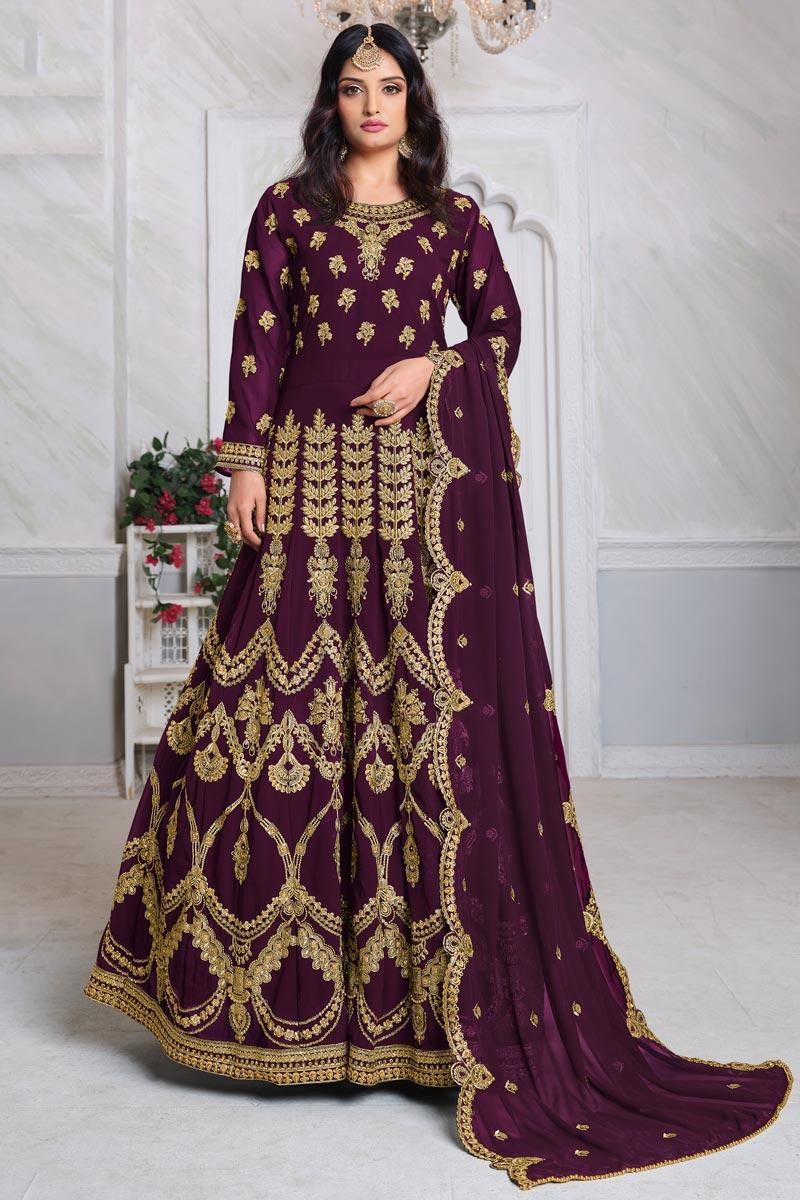 Embroidery Work Sangeet Wear Stylish Anarkali Suit In Purple Color Georgette Fabric