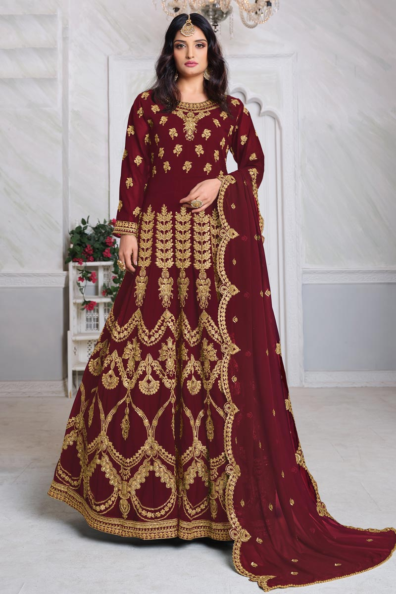 Georgette Fabric Embroidery Work Wedding Wear Designer Anarkali Suit In Maroon Color
