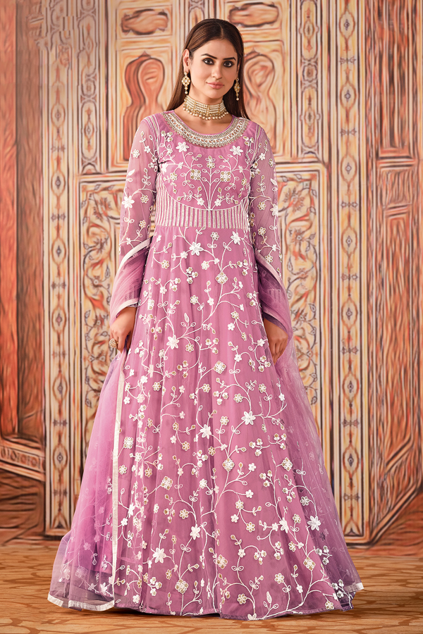 Pink Color Party Style Embroidered Net Fabric Anarkali Suit