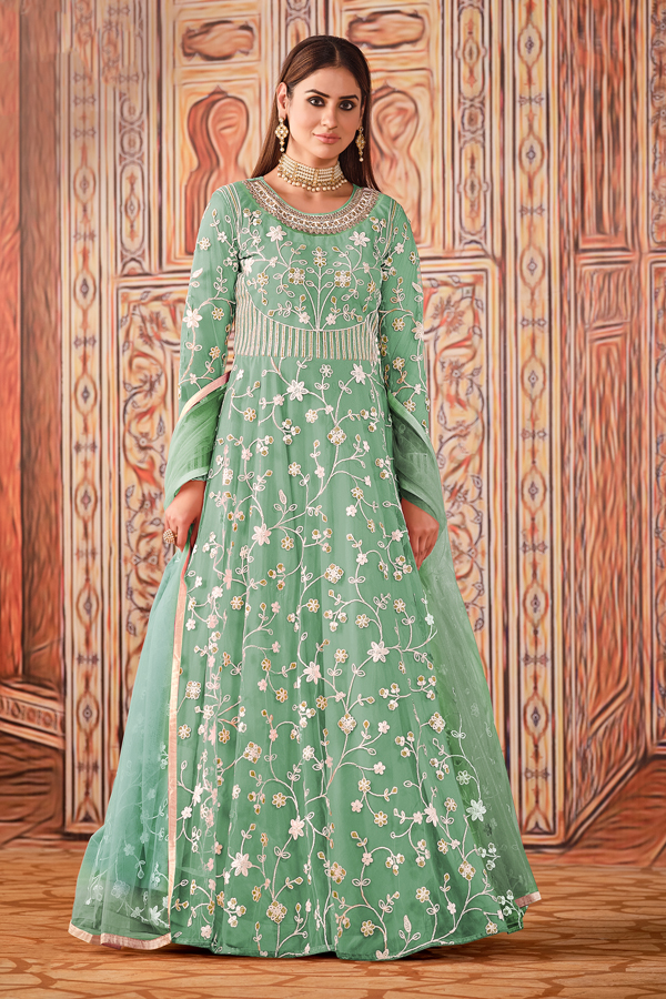 Net Fabric Party Style Sea Green Color Embroidered Anarkali Suit