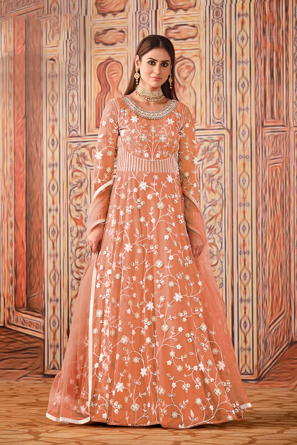 Peach Color Net Fabric Party Style Embroidered Anarkali Dress