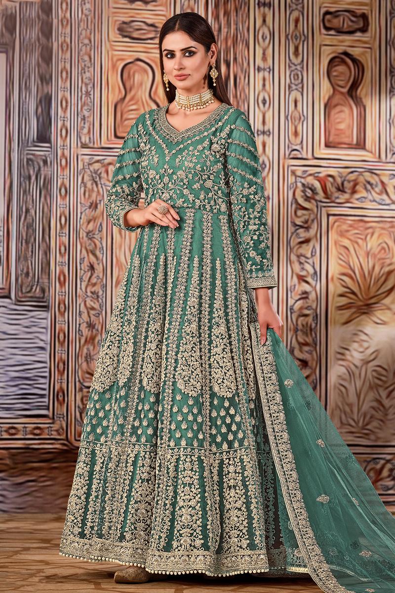 Cyan Color Function Wear Embroidered Net Fabric Anarkali Salwar Suit