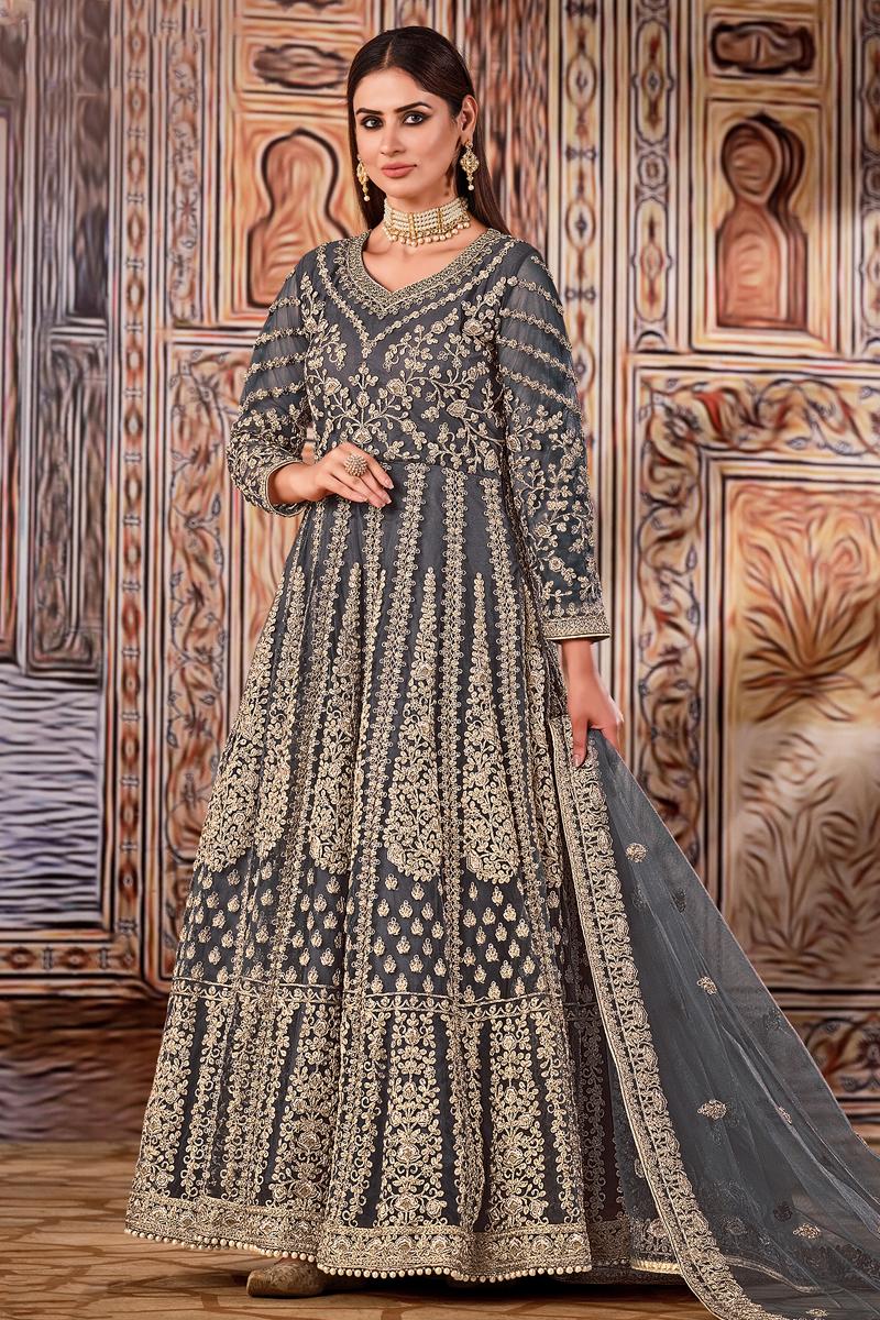Grey Color Festive Wear Embroidered Net Fabric Anarkali Salwar Kameez