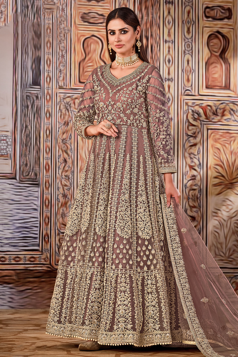 Net Fabric Party Wear Peach Color Embroidered Anarkali Salwar Suit