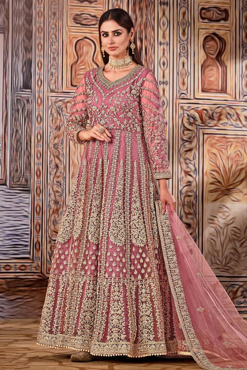 Pink Color Net Fabric Function Wear Embroidered Anarkali Salwar Kameez